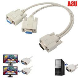 1 PC TO 2 LCD TV MONITOR SVGA Y SPLITTER 2 PORT CABLE VGA LE