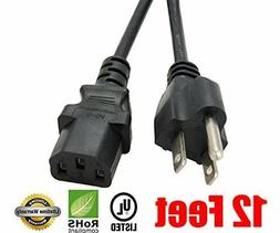 12Ft 3Prong AC Power Cord for Sony Sceptre RCA Panasonic Mag
