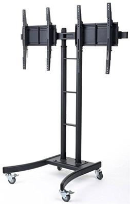 Displays2go MB895DHBK Floor Stand for TVs and Dual Monitor M