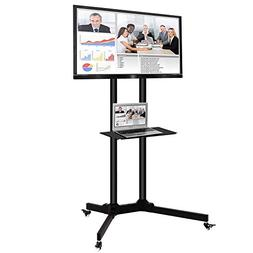 Toolsempire Height Adjustable Mobile TV Cart Rolling TV Stan