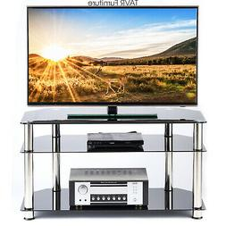 Black Corner TV Stand for 26-46 Inch Plasma LCD LED OLED Fla