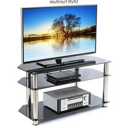 Corner TV Stand for 26-46 Inch LCD LED TVs Tempered Glass/Si