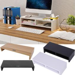 Dual Layer Computer Monitor Riser Shelf LCD TV Scrren Platfo