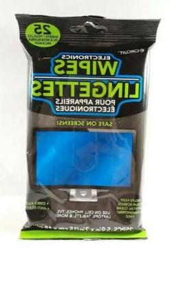 Electronic Cleaning Wipes 25 Count LCD Screens Monitors TVs