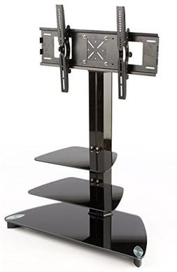 Glass Monitor Stand with 2 Shelves for a 37 to 52 inch Flat