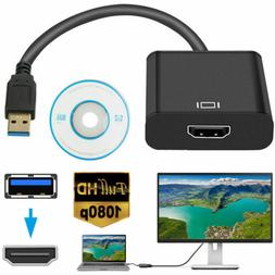 HD 1080P USB 3.0 to HDMI Video Cable Adapter For PC Laptop H