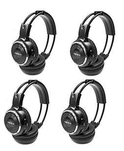 4 Pack of Wireless Infrared Two-Channel Foldable Headphones