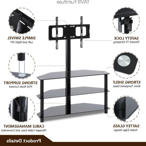 3-in-1 Floor TV Stand with Swivel Mount Flat