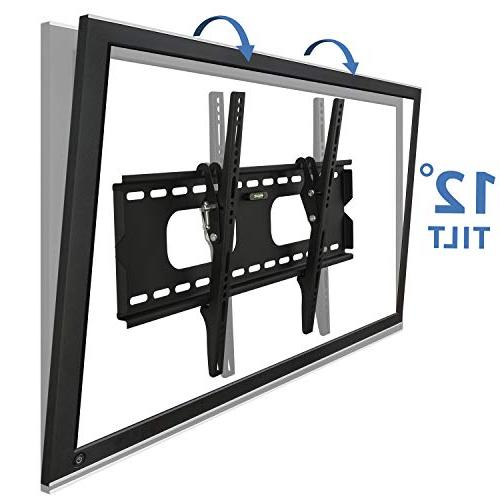 Mount-It Tilting TV Wall Bracket 32-60 OLED, Flat Screen 175 Capacity, Inch Profile, Max 600x400 , Black, 60
