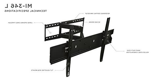 Mount-It! Mount for Flat 40 60 65 Inch Screen TV, 110 Lb Weight Capacity, Black