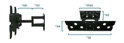 Motion Swivel Fits 32-60 Inch OLED Plasma 4K Panel VESA Up To 750x450, Capacity, Black