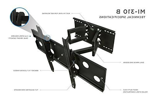 Mount-It! TV Mount Motion Heavy-Duty Swivel 32-60 LCD OLED Plasma Flat Panel VESA To 750x450, 175 Capacity,