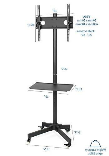 "VIVO TV for LED Plasma Flat Panel Trolley Floor Stand Locking Wheels | to 55"""
