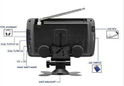 Portable TV Rechargeable LCD Digital FM USB/SD AV AC/DC
