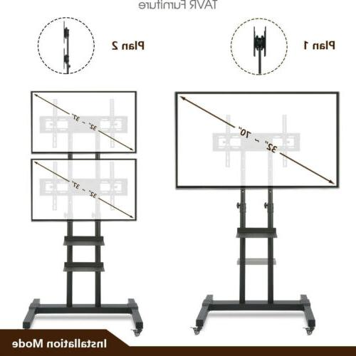 Mobile TV Stand with 2 TV Bracket on Wheels for 32-70 inch L