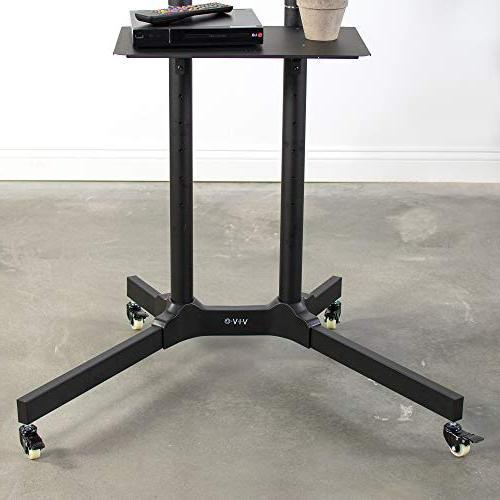 "VIVO Black TV Cart for LCD Flat Stand Mobile 32"" 65"""