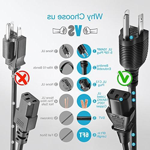 Chanzon AC Power Cord Personal uhd Smart TV,Printer Supply Replacement 3 Prong 10A Cable
