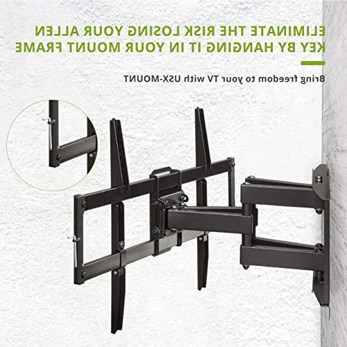 "Full Motion TV Wall Mount TV Bracket Swivel Tilt Articulating for Most TVs-with Max VESA Capacity Fits 16"" Stud USX Mount"