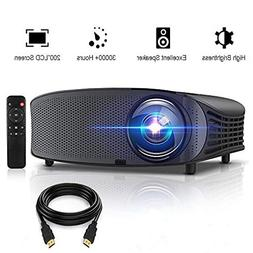 "Projector, GBTIGER 4000 Lumens Video Projector 200"" LED LCD"