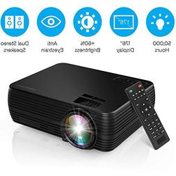 Projector, DBPOWER X5 Mini Movie Projector +60% Brightness P