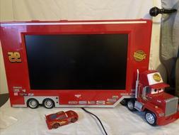 """RARE! DISNEY CARS 19"""" LCD TV LIGHTNING MCQUEEN MACK HAULER T"""