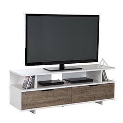South Shore Reflekt TV Stand Weathered Oak & Pure White