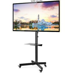Rolling TV Stand with Tilt Mount Height Adjustable for 32-60