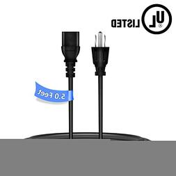 PwrON 5ft/1.5m UL Listed Premium Power Cord Cable Plug for V