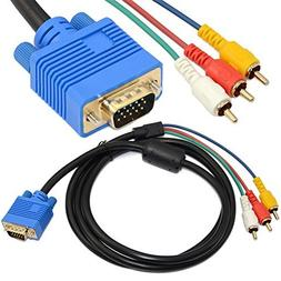 5ft 1.5M VGA Male Plug 15 pin to 3 RCA Audio AV Cable Adapte