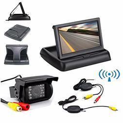 Wireless Vehicle Backup Camera and Monitor Kit,Waterproof IR